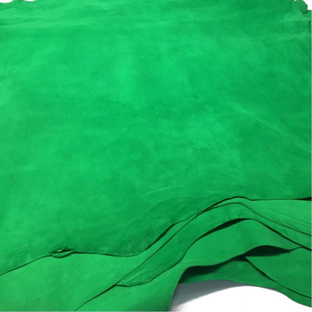 Кожа велюр, зелёный, 0.8-1.0 мм, ИТАЛИЯ