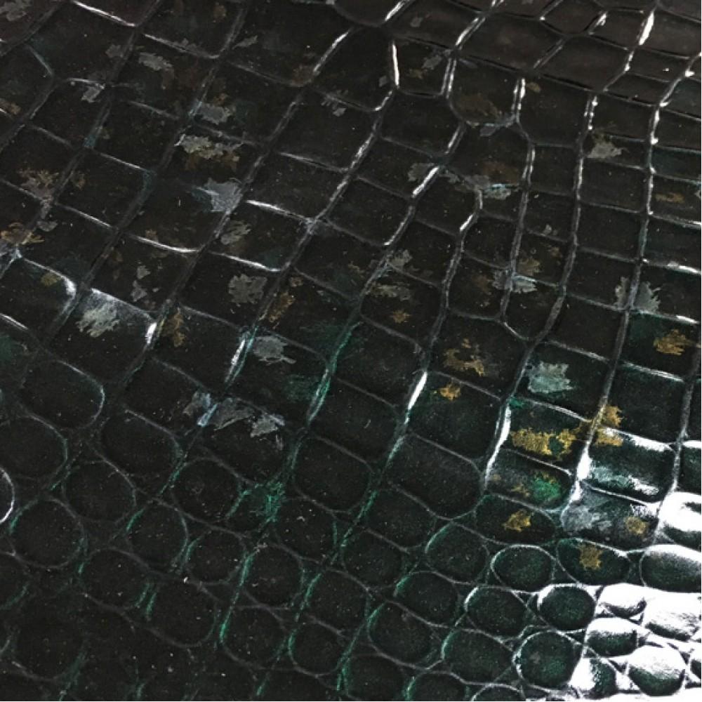 Кожа тиснёная, лаковая, сложный тёмно-зелёный, ИТАЛИЯ