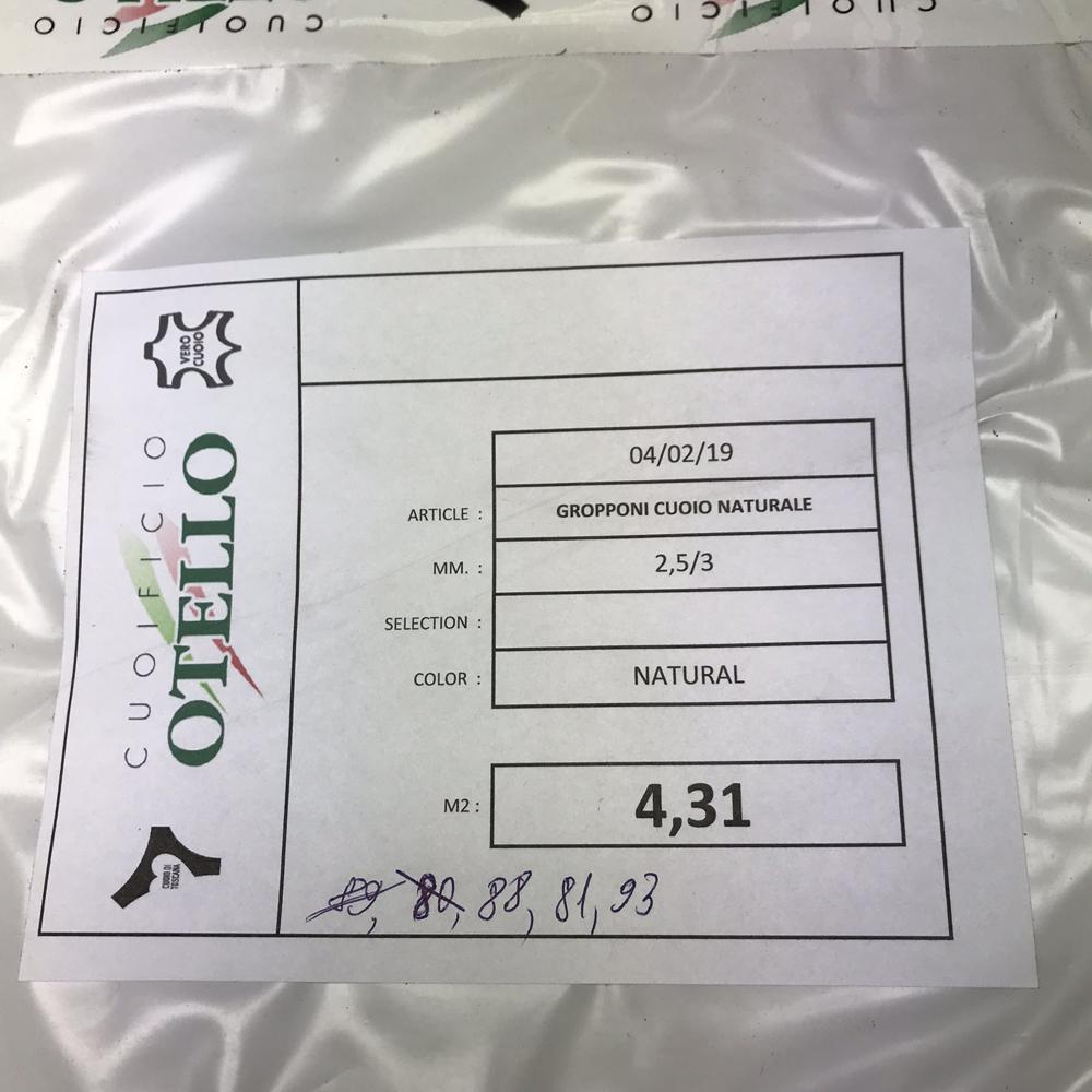 Чепрак 2.5/3.0, натуральное лицо, CUOIFICIO OTELLO, Италия